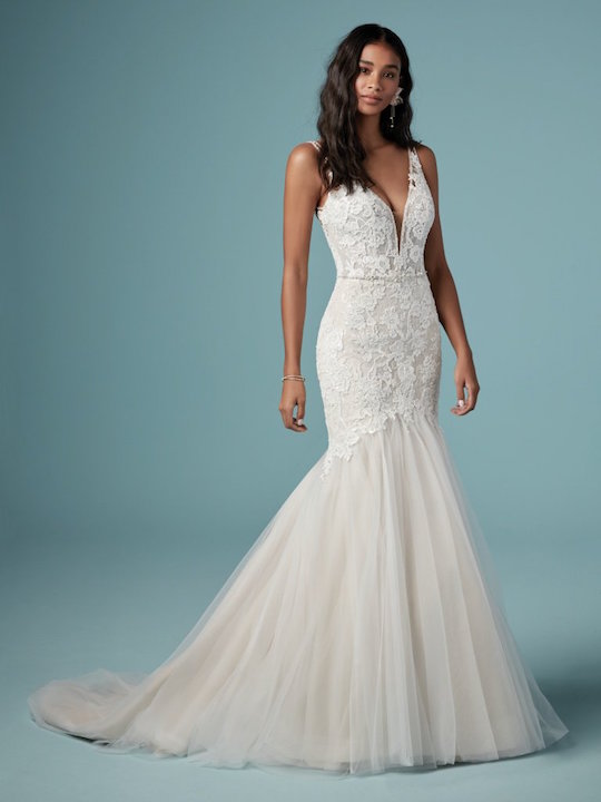 Sleeveless V-Neck Mermaid Wedding Dress With Tulle Skirt by Maggie Sottero - Image 1