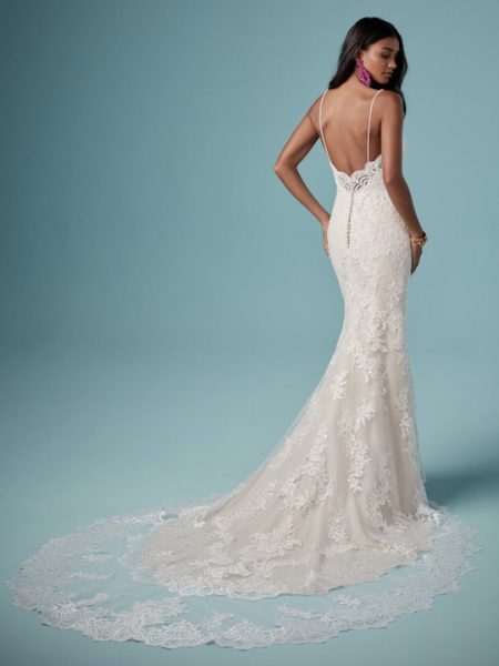 Spaghetti Strap Sweetheart Neckline Lace Sheath Wedding Dress by Maggie Sottero - Image 2