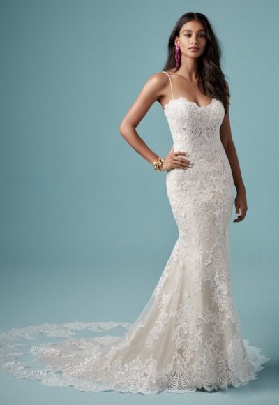 Spaghetti Strap Sweetheart Neckline Lace Sheath Wedding Dress by Maggie Sottero