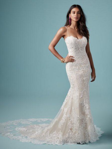Spaghetti Strap Sweetheart Neckline Lace Sheath Wedding Dress by Maggie Sottero - Image 1