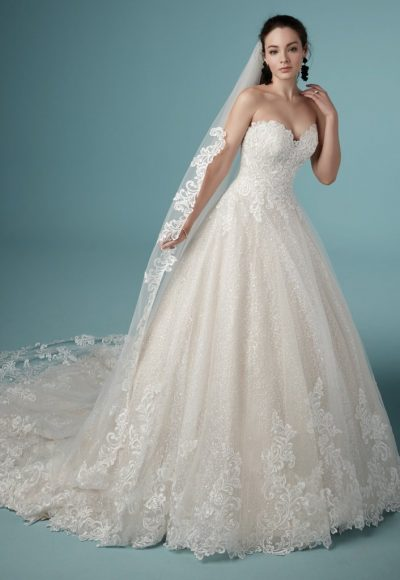 Strapless Sweetheart Lace Ballgown Wedding Dress by Maggie Sottero