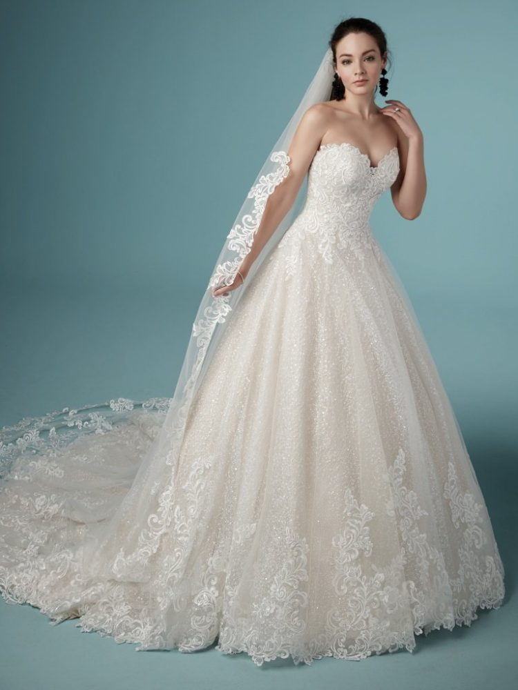 Strapless Sweetheart Lace Ballgown Wedding Dress by Maggie Sottero - Image 1
