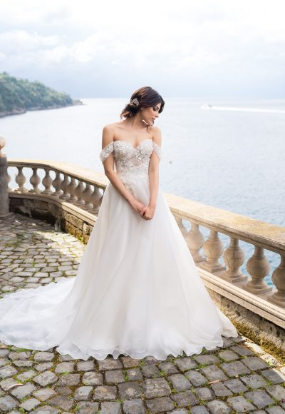 Off-the-shoulder Ballgown Wedding Dress With Floral Appliques by Maison Signore