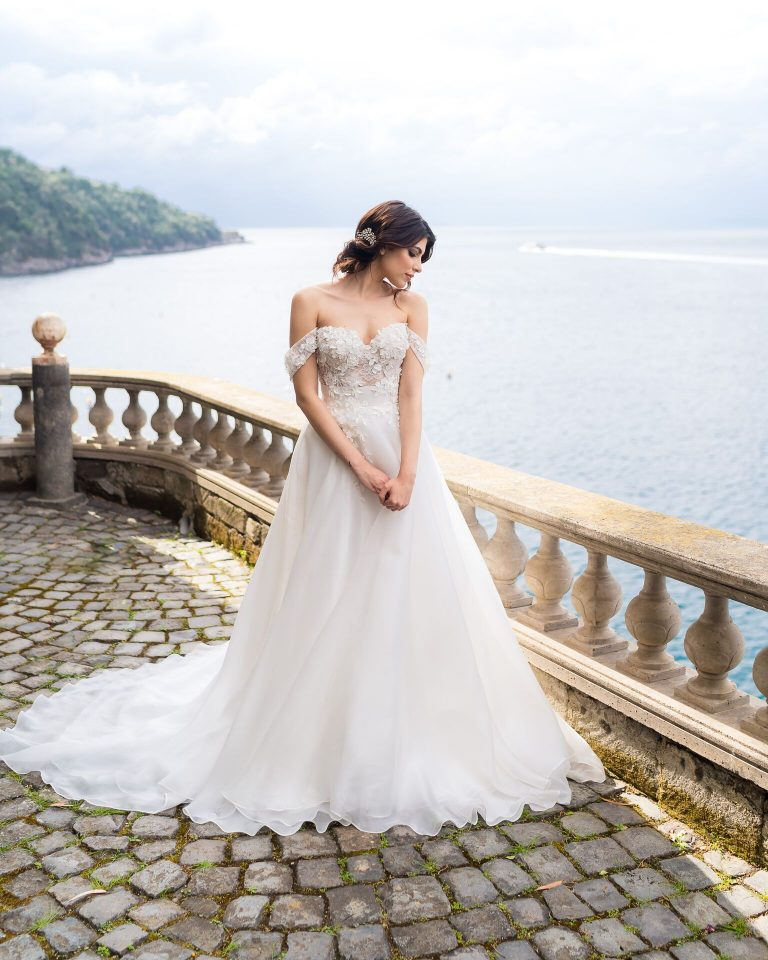 Off-the-shoulder Ballgown Wedding Dress With Floral Appliques by Maison Signore - Image 1