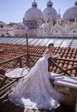 V-Neck Off The Shoulder A-Line Wedding Dress With Illusion Lace by Maison Signore - Image 2