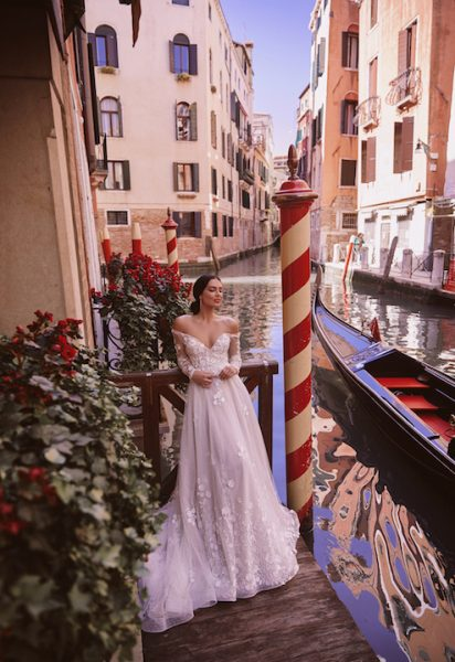 V-Neck Off The Shoulder A-Line Wedding Dress With Illusion Lace by Maison Signore - Image 1