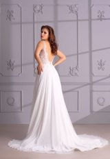 V-Neck Sleeveless A-Line Wedding Dress With Lace Bodice by Maison Signore - Image 2