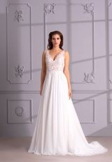 V-Neck Sleeveless A-Line Wedding Dress With Lace Bodice by Maison Signore - Image 1