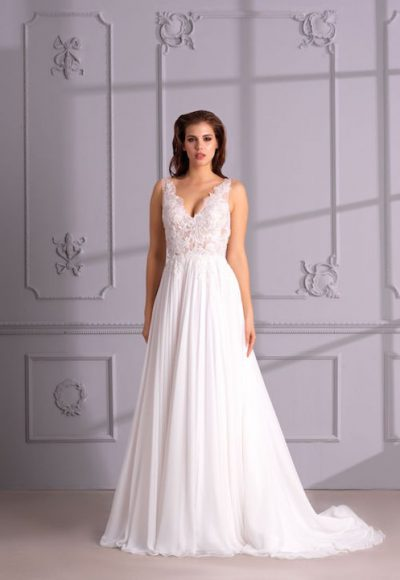 V-Neck Sleeveless A-Line Wedding Dress With Lace Bodice by Maison Signore