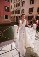 V-Neck Sleeveless A-line Wedding Dress With Layered Lace by Maison Signore - Image 2