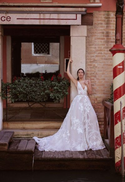 V-Neck Sleeveless A-line Wedding Dress With Layered Lace by Maison Signore