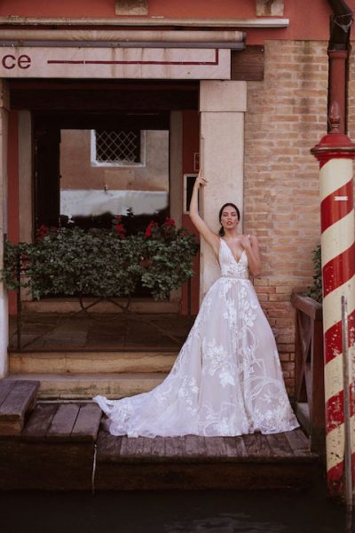 V-Neck Sleeveless A-line Wedding Dress With Layered Lace by Maison Signore - Image 1