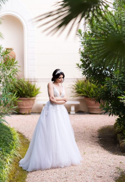 V-Neck Sleeveless Ballgown Wedding Dress With Embroidered Bodice by Maison Signore