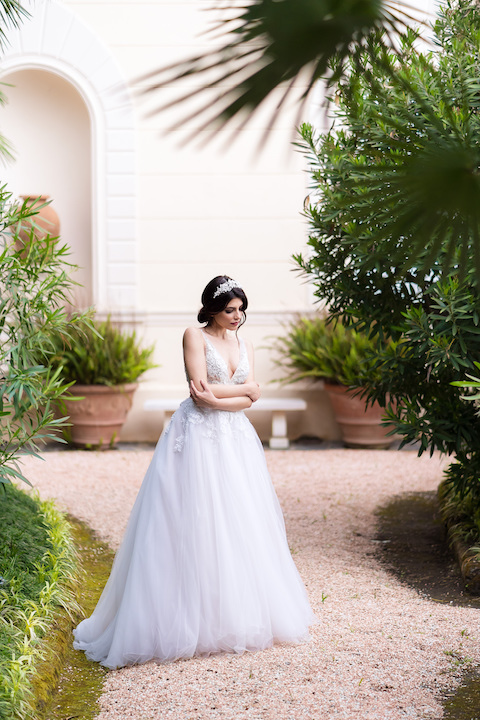 V-Neck Sleeveless Ballgown Wedding Dress With Embroidered Bodice by Maison Signore - Image 1