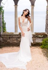 V-Neck Sleeveless Mermaid Wedding Dress With Chantilly Bodice by Maison Signore - Image 1