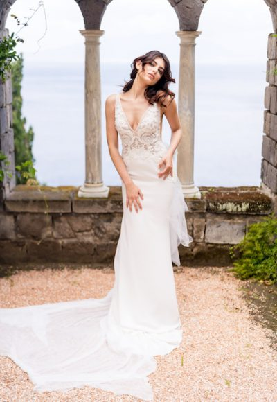 V-Neck Sleeveless Mermaid Wedding Dress With Chantilly Bodice by Maison Signore