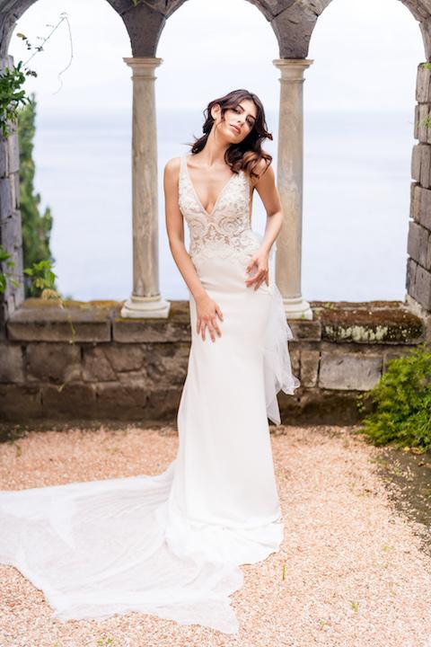 V-Neck Sleeveless Mermaid Wedding Dress With Chantilly Bodice by Maison Signore - Image 1
