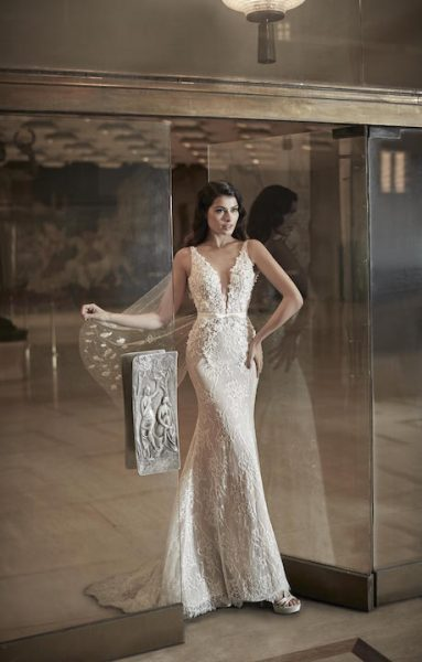 V-Neck Sleeveless Mermaid Wedding Dress With Lace Throughout by Maison Signore - Image 1