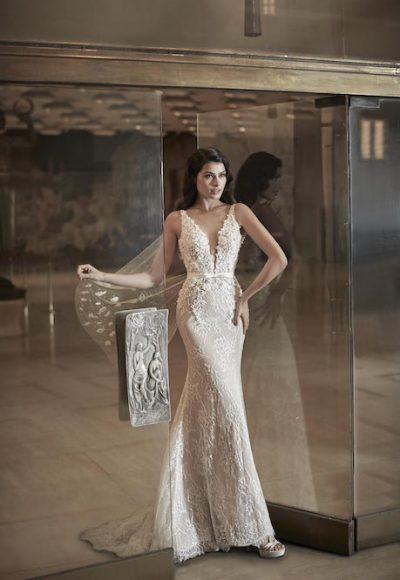 V-Neck Sleeveless Mermaid Wedding Dress With Lace Throughout by Maison Signore