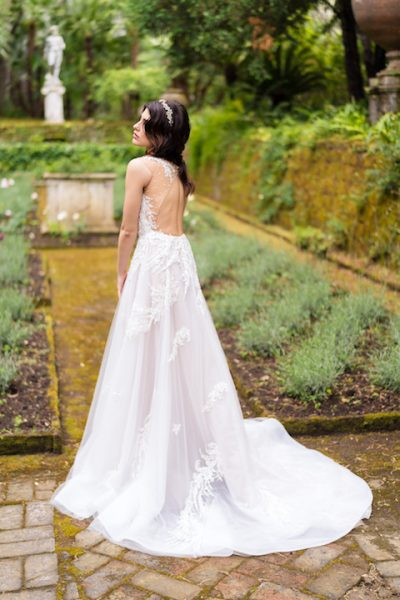 V-Neck Sleevless A-Line Wedding Dress With Floral Appliques Throughout by Maison Signore - Image 2