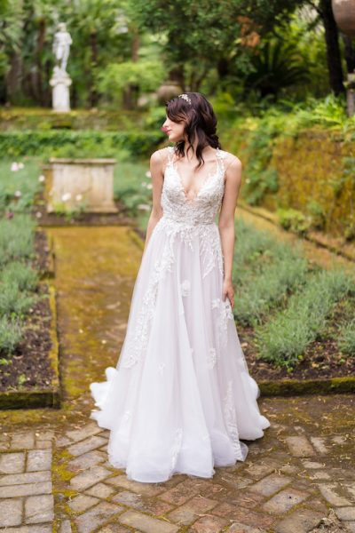 V-Neck Sleevless A-Line Wedding Dress With Floral Appliques Throughout by Maison Signore - Image 1
