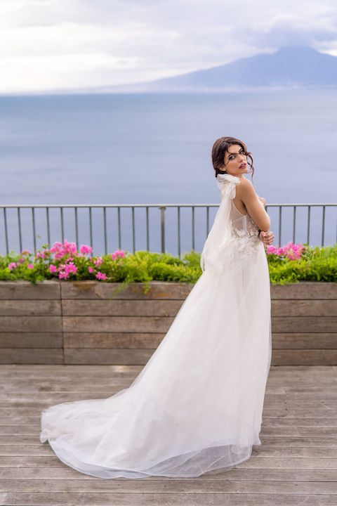 V-Neck Spaghetti Strap A-Line Wedding Dress With Floral Appliques by Maison Signore - Image 2
