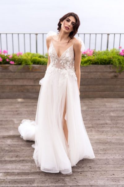 V-Neck Spaghetti Strap A-Line Wedding Dress With Floral Appliques by Maison Signore - Image 1