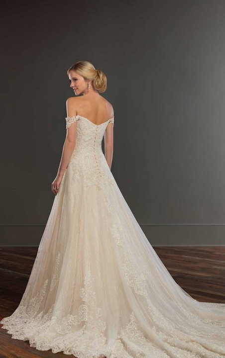 Off The Shoulder Beaded And Embroidered Sweetheart Ball Gown Wedding Dress by Martina Liana - Image 2