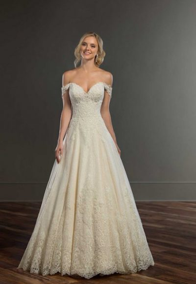 Off The Shoulder Beaded And Embroidered Sweetheart Ball Gown Wedding Dress by Martina Liana