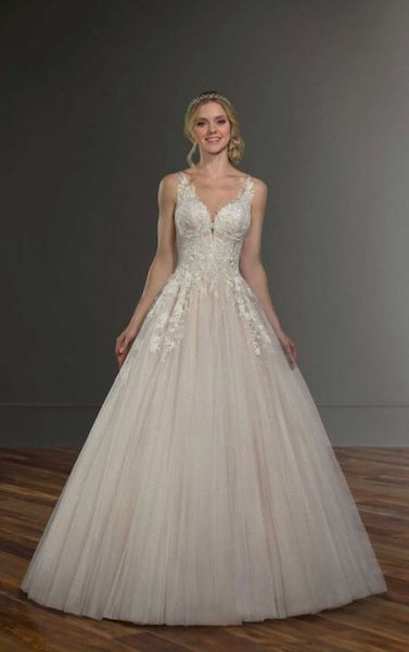 Sleeveless Illusion Neckline Ballgown Wedding Dress by Martina Liana - Image 1