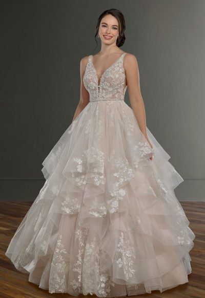 Sleeveless V-Neck Ballgown Wedding Dress With Layered Skirt by Martina Liana