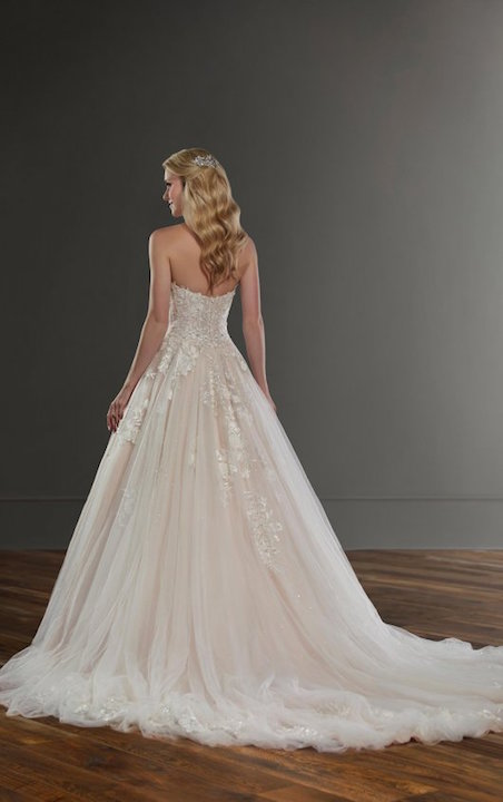 Strapless Sweetheart Ballgown Wedding Dress With Floral Appliques by Martina Liana - Image 2