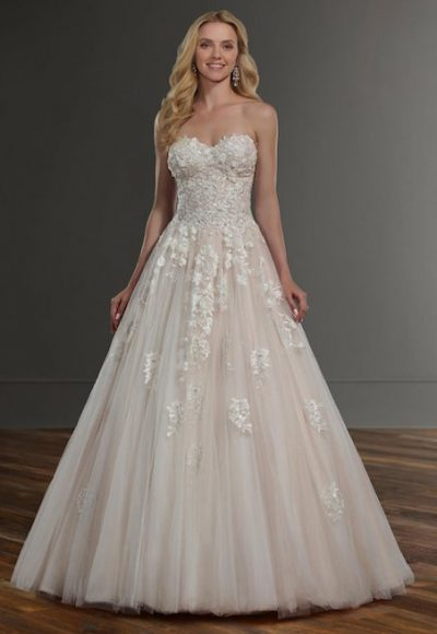 Strapless Sweetheart Ballgown Wedding Dress With Floral Appliques by Martina Liana