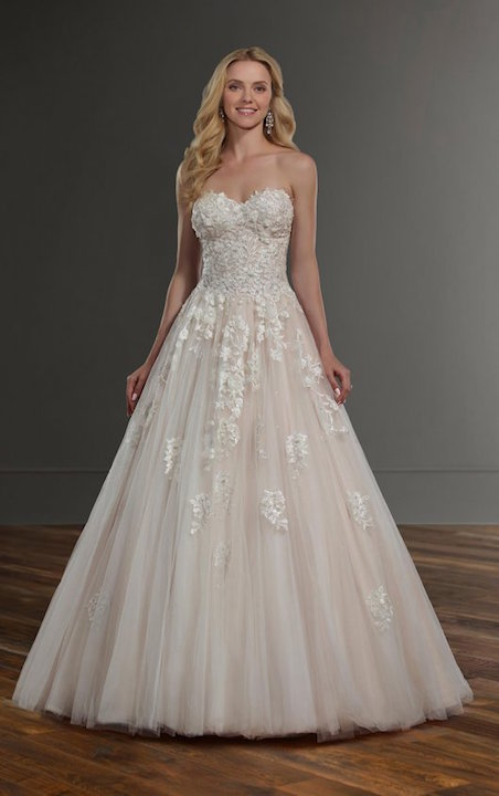 Strapless Sweetheart Ballgown Wedding Dress With Floral Appliques by Martina Liana - Image 1
