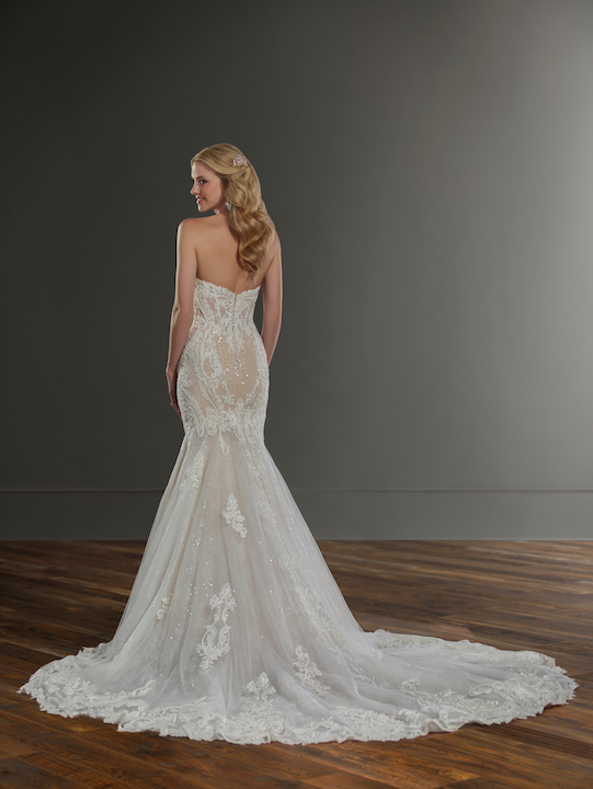 Strapless Sweetheart Fit And Flare Wedding Dress With Bead And Pearl Emblishments by Martina Liana - Image 2