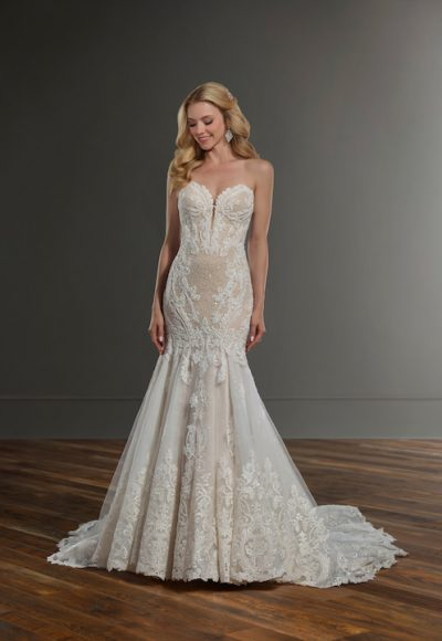 Strapless Sweetheart Fit And Flare Wedding Dress With Bead And Pearl Emblishments by Martina Liana