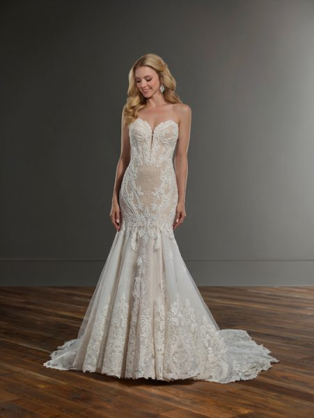 Strapless Sweetheart Fit And Flare Wedding Dress With Bead And Pearl Emblishments by Martina Liana - Image 1