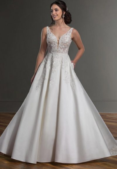 V-Neck Sleeveless Ballgown Wedding Dress With Beaded Lace Bodice by Martina Liana