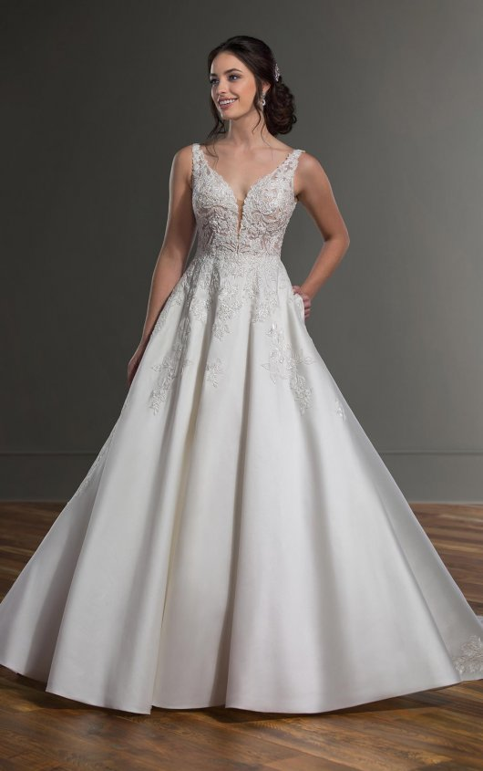 V-Neck Sleeveless Ballgown Wedding Dress With Beaded Lace Bodice by Martina Liana - Image 1