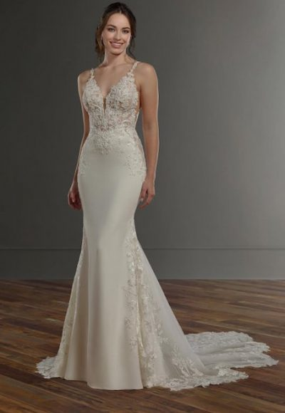 V-Neck Sleeveless Beaded And Embroidered Fit And Flare Wedding Dress by Martina Liana