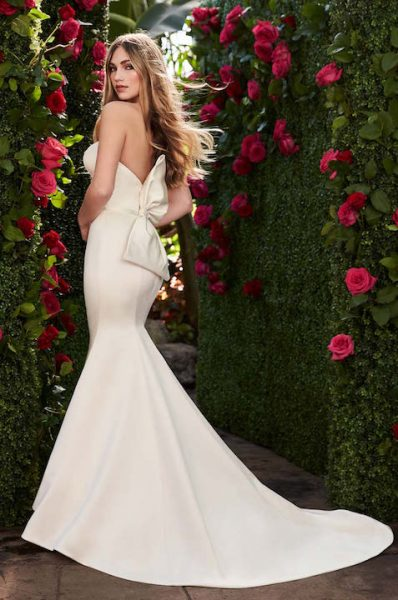 Strapless Sweetheart Neckline Fit And Flare Wedding Dress With Bow by Mikaella - Image 2