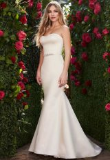 Strapless Sweetheart Neckline Fit And Flare Wedding Dress With Bow by Mikaella - Image 1