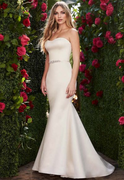 Strapless Sweetheart Neckline Fit And Flare Wedding Dress With Bow by Mikaella