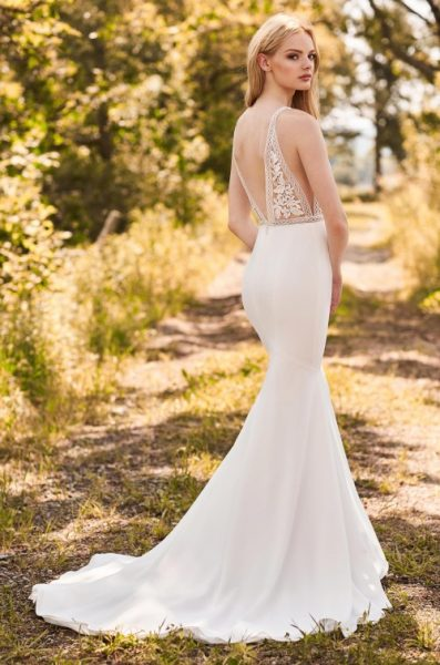 V-Neck Sleeveless Fit And Flare Wedding Dress With Lace Bodice by Mikaella - Image 2