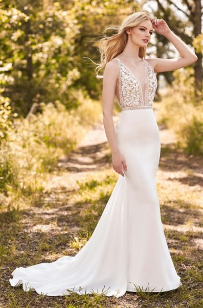 V-Neck Sleeveless Fit And Flare Wedding Dress With Lace Bodice by Mikaella - Image 1