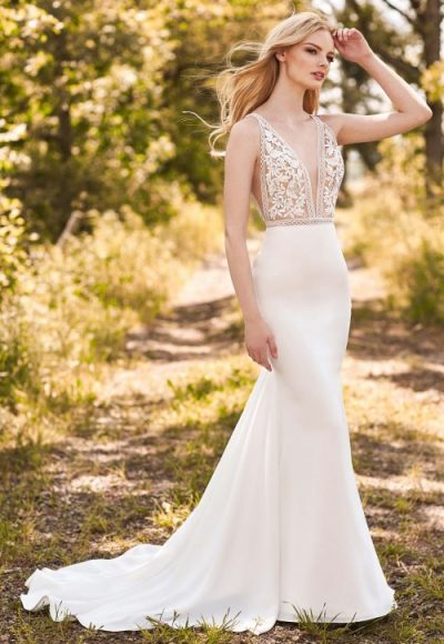 V-Neck Sleeveless Fit And Flare Wedding Dress With Lace Bodice by Mikaella