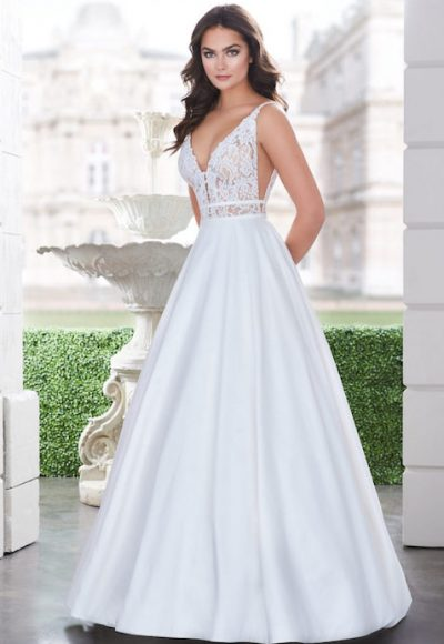 Sleeveless V-Neck Ballgown Wedding Dress With Lace Bodice by Paloma Blanca