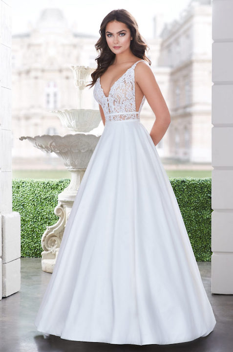 Sleeveless V-Neck Ballgown Wedding Dress With Lace Bodice by Paloma Blanca - Image 1
