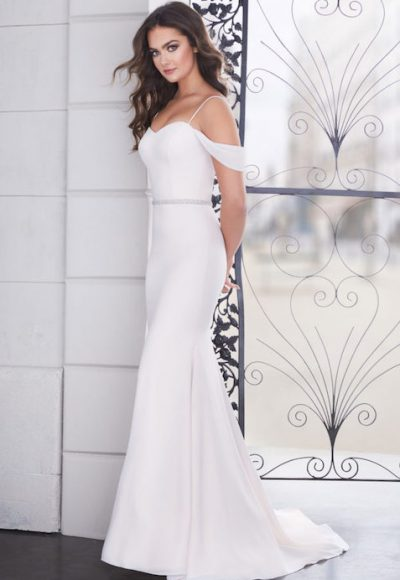 Spaghetti Strap Sweetheart Fit And Flare Wedding Dress With Beaded Belt by Paloma Blanca
