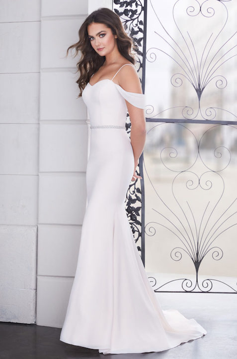 Spaghetti Strap Sweetheart Fit And Flare Wedding Dress With Beaded Belt by Paloma Blanca - Image 1